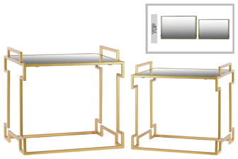 UTC36122 Metal Rectangular Nesting Accent Table with Mirror Top, Side Handles and Round Base Set of Two Metallic Finish Gold
