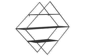UTC36180 Metal Triangle Wall Shelf with 3 Tier Shelves Metallic Finish Black