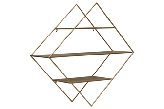 UTC36181 Metal Triangle Wall Shelf with 3 Tier Shelves Metallic Finish Gold
