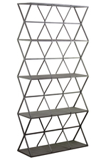 UTC36182 Metal Rectangle Wall Shelf with Lattice Design Body and 5 Tier Shelves Metallic Finish Gunmetal Gray