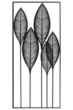 UTC36183 Metal Wall Art of Leaves with Frame in Portrait Orientation Metallic Finish Black