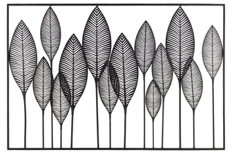 UTC36184 Metal Wall Art of Leaves with Frame in Landscape Orientation Metallic Finish Black