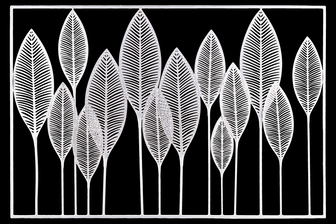 UTC36189 Metal Wall Art of Leaves with Frame in Landscape Orientation Metallic Finish White