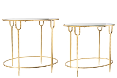 UTC36190 Metal Round Table with Top Mirror Glass Surface on Quadpod Stand Set of Two Metallic Finish Gold