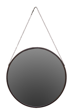 UTC37000 Metal Round Mirror with Chain Hanger Rust Finish Brown