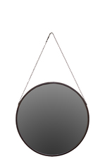 UTC37001 Metal Round Mirror with Chain Hanger Rust Finish Brown