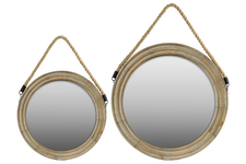 UTC37042 Wood Round Mirror with Rope Hanger Set Of Two Natural Finish Tan