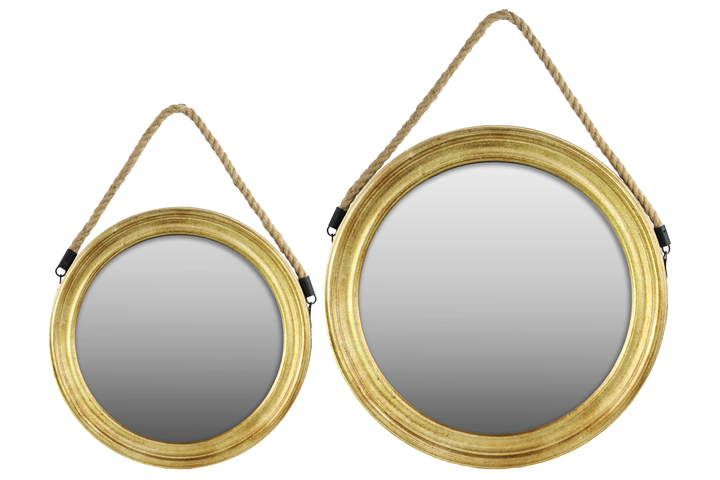 UTC37043 Wood Round Mirror with Rope Hanger Set Of Two Metallic Finish Gold