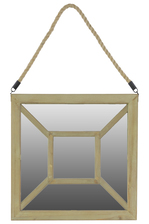 UTC37046 Wooden Square Mirror With Rope Hanger Natural Wood Finish Brown