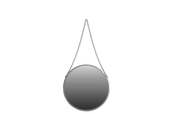 UTC37049 Metal Round Mirror with Chain Hanger SM Coated Finish Silver