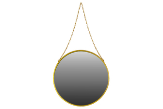 UTC37050 Metal Round Mirror with Chain Hanger LG Coated Finish Antique Gold