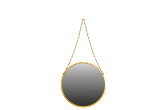 UTC37051 Metal Round Mirror with Chain Hanger SM Coated Finish Antique Gold