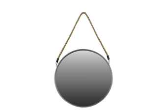 UTC37052 Metal Round Mirror with Rope Hanger LG Metallic Finish Silver