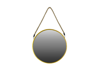 UTC37054 Metal Round Mirror with Rope Hanger LG Metallic Finish Antique Gold
