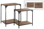 UTC37078 Metal Rectangular Nesting Accent Table with Brown Wood Top and Shelf Set of Two Matte Finish Black