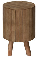 UTC37080 Wood Round Drum End Table with Live Edge Top and 4 Legs Natural Wood Finish Brown