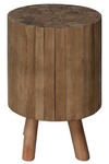UTC37081 Wood Round Drum End Table with Bundled Wood Top and 4 Legs Natural Wood Finish Brown