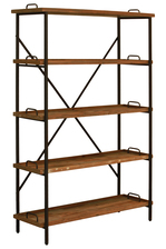 UTC37090 Wood Rectangular Shelf with 4 Tiers Natural Wood Finish Brown