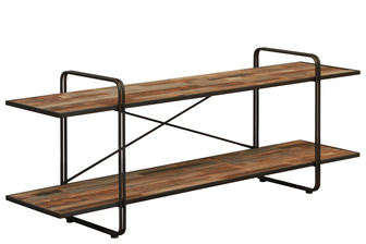 UTC37091 Wood Rectangular Shelf with 2 Tiers Natural Wood Finish Brown