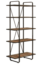 UTC37092 Wood Rectangular Shelf with 5 Tiers Natural Wood Finish Brown