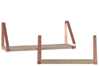 UTC37096 Wood Rectangular Wall Shelf with Angled Brackets Set of Two Metallic Finish Rose Gold