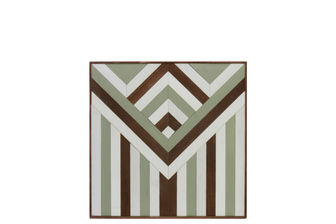 "UTC37104 Wood Parquet Wall Art with ""Reverse Triangle Lath with Stripes"" Pattern Natural Wood Finish Multicolor (Brown and Gray)"