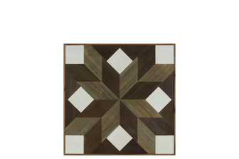 "UTC37105 Wood Parquet Wall Art with ""Lemoyne Star with Squares"" Pattern Natural Wood Finish Multicolor (Brown, White and Beige)"