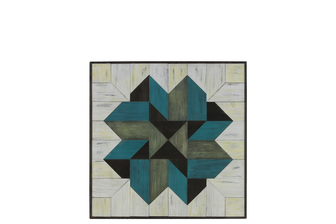 "UTC37106 Wood Parquet Wall Art with ""Mosaic Lemoyne Star"" Pattern SM Natural Wood Finish Multicolor (Turquoise, White and Dark Gray)"