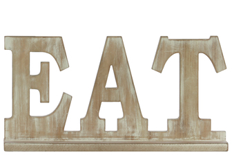"UTC37112 Wood Alphabet Decor ""EAT"" on Base Weathered Finish Beige"