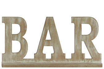"UTC37113 Wood Alphabet Decor ""BAR"" on Base Weathered Finish Beige"
