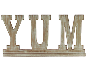 "UTC37114 Wood Alphabet Decor ""YUM"" on Base Weathered Finish Beige"