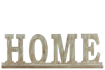 "UTC37115 Wood Alphabet Decor ""HOME"" on Base Weathered Finish Beige"