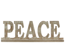"UTC37116 Wood Alphabet Decor ""PEACE"" on Base Weathered Finish Beige"