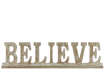 "UTC37118 Wood Alphabet Decor ""BELIEVE"" on Base Weathered Finish Beige"