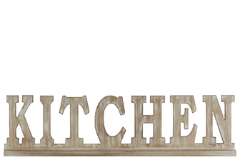"UTC37119 Wood Alphabet Decor ""KITCHEN"" on Base Weathered Finish Beige"