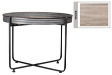 UTC37153 Metal Round Low Table with Brunette Rim Edges, Wooden Surface and Detachable Metal Stand Galvanized Finish Gray