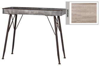 UTC37156 Metal Rectangle Table with Wood Surface and Brown Espresso Rim Edges and Legs Galvanized Finish Dark Gray