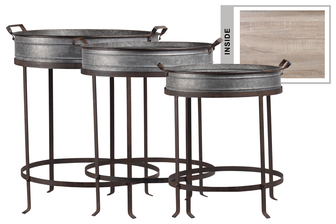 UTC37157 Metal Round Tray with Side Handles, Wooden Surface, Brunette Rim Edges and Handles, and Detachable Metal Stand Set of Three Galvanized Finish Gray