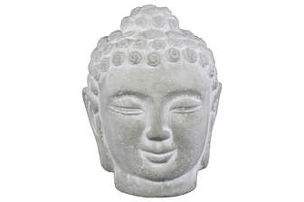 UTC37201 Cement Buddha Head with Rounded Ushnisha Washed Concrete Finish White