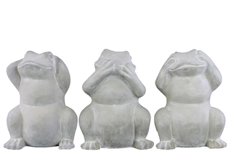 UTC37204-AST Cement Standing Frog No Evil (Hear/Speak/See) Figurine Assortment of Three Washed Concrete Finish White
