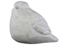 UTC37207 Cement Bird Figurine Washed Concrete Finish White