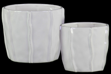 UTC37307 Ceramic Low Pot with Embedded Wave Design Body Set of Two Gloss Finish White