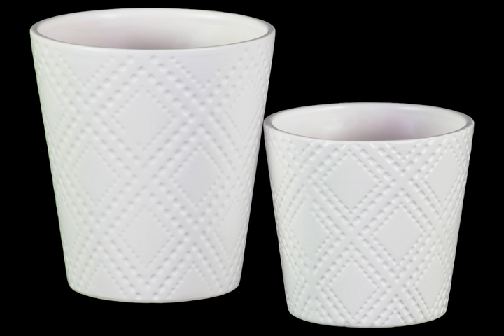 UTC37324 Ceramic Round Pot with Embossed Classic Pattern Design Body Set of Two Matte White