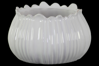 UTC37326 Ceramic Bellied Round Bowl with Distressed Irregular Shape Lips in Wave Design Body Gloss Finish White