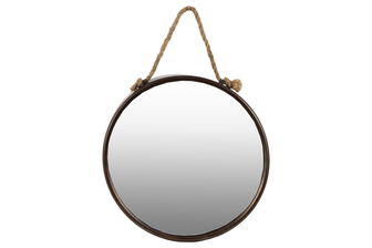 UTC37506 Metal Round Wall Mirror with Rope Hanger Tarnished Finish Bronze