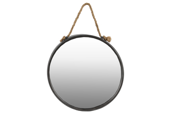 UTC37507 Metal Round Wall Mirror with Rope Hanger Tarnished Finish Gunmetal Gray