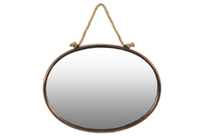 UTC37508 Metal Oval Wall Mirror with Rope Hanger Tarnished Finish Bronze