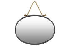 UTC37509 Metal Oval Wall Mirror with Rope Hanger Tarnished Finish Gunmetal Gray