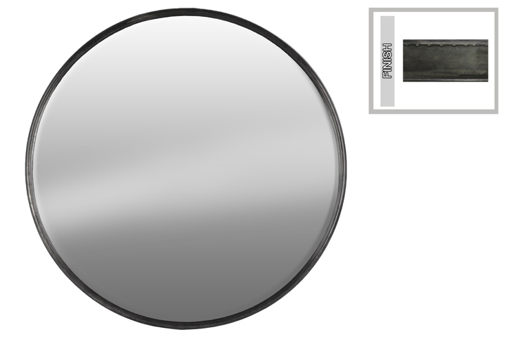 UTC37514 Metal Round Wall Mirror LG Tarnished Finish Gunmetal Gray