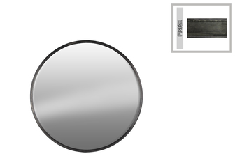 UTC37515 Metal Round Wall Mirror SM Tarnished Finish Gunmetal Gray